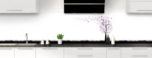 Crédence de cuisine Arbre d'amour couleur parme panoramique motif inversé