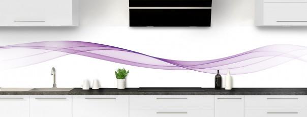 Crédence de cuisine Vague graphique couleur parme panoramique