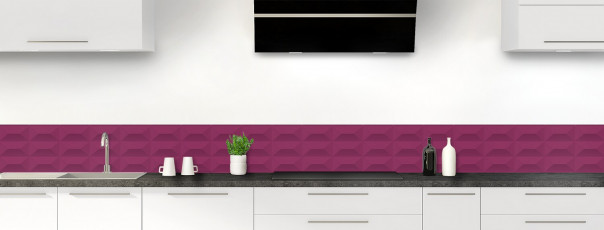 Crédence de cuisine Briques en relief couleur prune dosseret