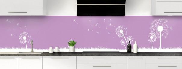 Crédence de cuisine Pissenlit au vent couleur parme panoramique motif inversé
