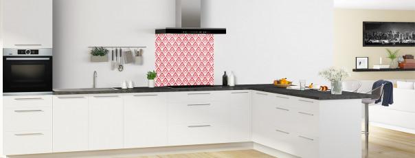 Crédence de cuisine Ecailles Magnolia couleur rouge vif fond de hotte en perspective