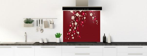 Crédence de cuisine Arbre fleuri couleur rouge pourpre fond de hotte motif inversé