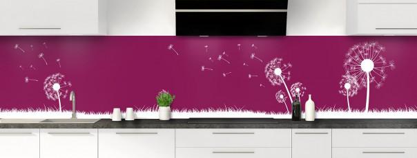 Crédence de cuisine Pissenlit au vent couleur prune panoramique motif inversé