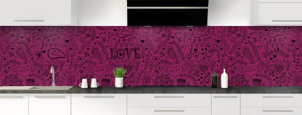 Crédence de cuisine Love illustration couleur prune panoramique