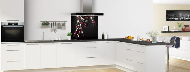 Crédence de cuisine Arbre fleuri couleur noir fond de hotte motif inversé en perspective