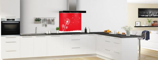 Crédence de cuisine Pissenlit au vent couleur rouge vif fond de hotte en perspective