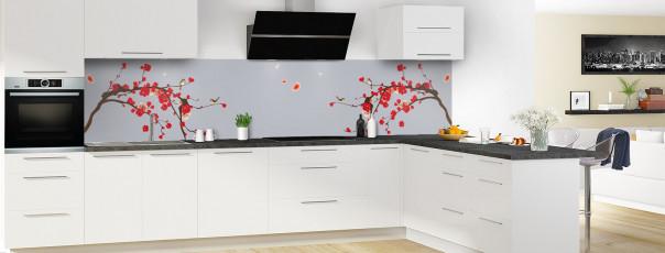 Crédence de cuisine Cerisier japonnais couleur gris métal panoramique motif inversé en perspective