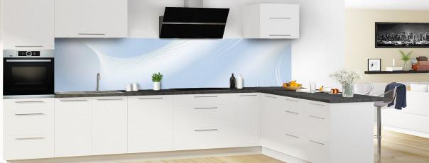 Crédence de cuisine Volute couleur bleu azur panoramique en perspective