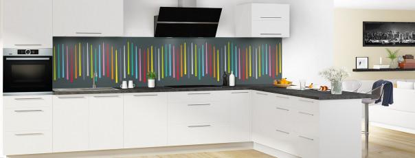 Crédence de cuisine Barres colorées couleur gris carbone panoramique en perspective