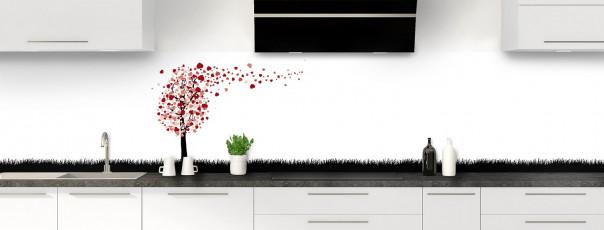 Crédence de cuisine Arbre d'amour couleur rouge carmin panoramique