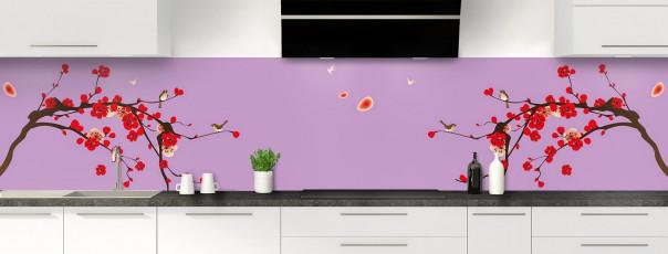 Crédence de cuisine Cerisier japonnais couleur parme panoramique motif inversé