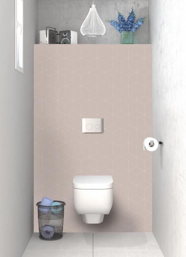 Panneau WC Cubes en relief couleur argile