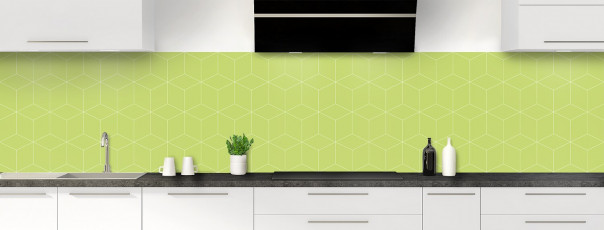 Crédence de cuisine Cubes en relief couleur vert olive panoramique
