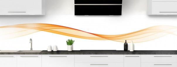 Crédence de cuisine Vague graphique couleur abricot panoramique