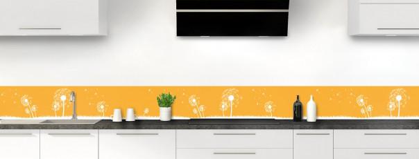 Crédence de cuisine Pissenlit au vent couleur abricot dosseret motif inversé