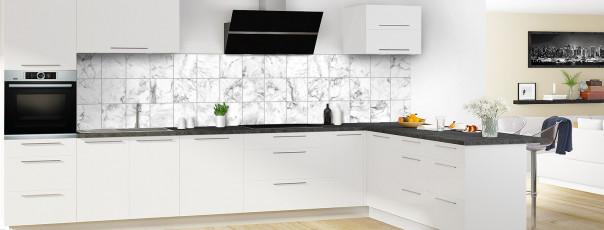 Crédence de cuisine Carreaux Marbre blanc panoramique en perspective