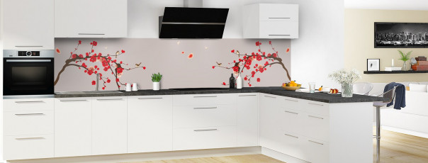 Crédence de cuisine Cerisier japonnais couleur argile panoramique motif inversé en perspective