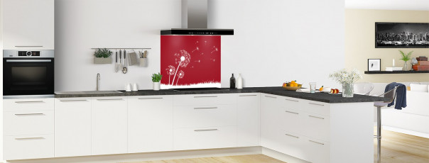 Crédence de cuisine Pissenlit au vent couleur rouge carmin fond de hotte en perspective