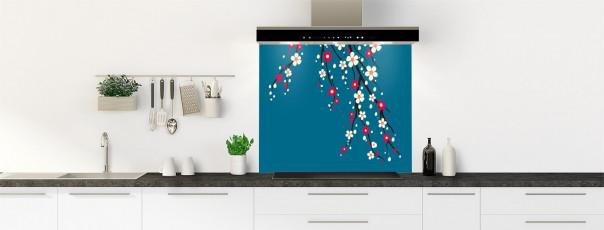 Crédence de cuisine Arbre fleuri couleur bleu baltic fond de hotte