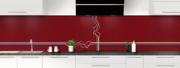 Crédence de cuisine Light painting couleur rouge pourpre panoramique motif inversé