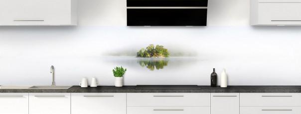 Crédence de cuisine Ilôt dans la brume panoramique motif inversé