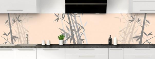 Crédence de cuisine Bambou zen couleur sable panoramique motif inversé