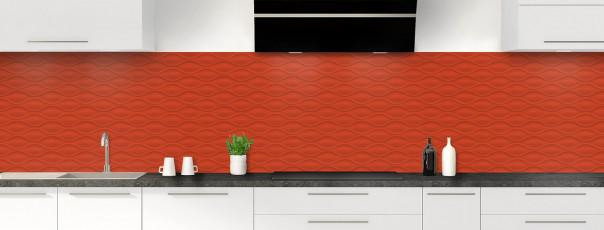 Crédence de cuisine Motif vagues couleur rouge brique panoramique