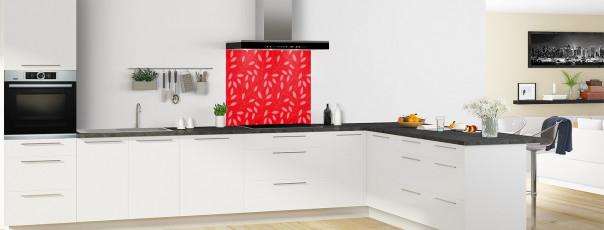 Crédence de cuisine Rideau de feuilles couleur rouge vif fond de hotte en perspective