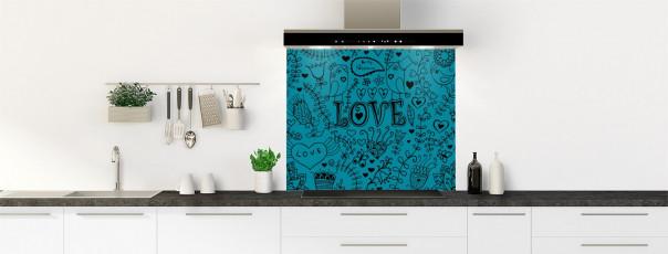 Crédence de cuisine Love illustration couleur bleu canard fond de hotte