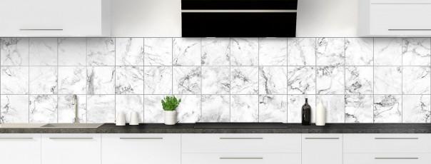 Crédence de cuisine Carreaux Marbre blanc panoramique