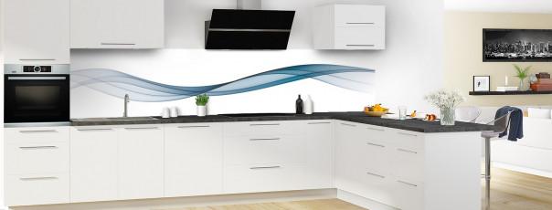 Crédence de cuisine Vague graphique couleur bleu baltic panoramique motif inversé en perspective