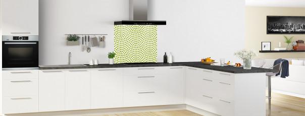 Crédence de cuisine Mosaïque petits cœurs couleur vert olive fond de hotte en perspective