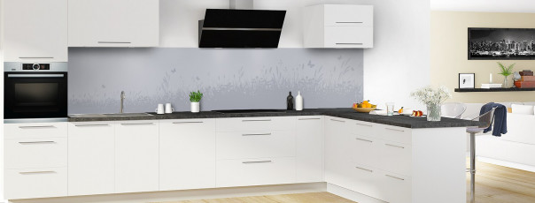 Crédence de cuisine Prairie et papillons couleur gris métal panoramique motif inversé en perspective