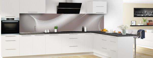 Crédence de cuisine Volute couleur taupe panoramique en perspective