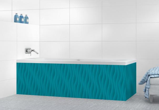 Panneau tablier de bain Ondes couleur bleu canard