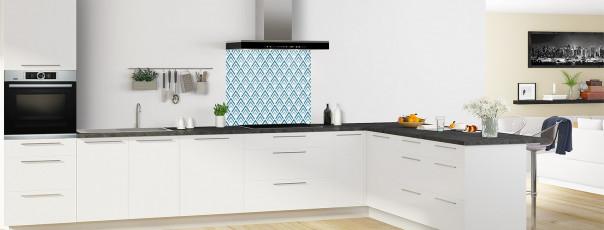 Crédence de cuisine Ecailles Magnolia couleur bleu baltic fond de hotte en perspective