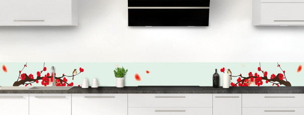 Crédence de cuisine Cerisier japonnais couleur vert eau dosseret