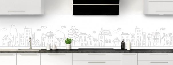 Crédence de cuisine Dessin de ville couleur blanc panoramique
