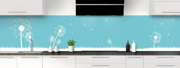 Crédence de cuisine Pissenlit au vent couleur bleu lagon panoramique
