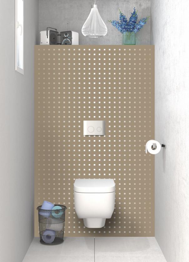 Panneau WC Petits carrés couleur marron glacé