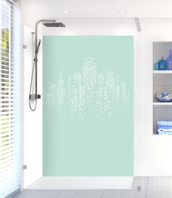 Panneau de douche Gratte-ciels couleur vert pastel motif inversé