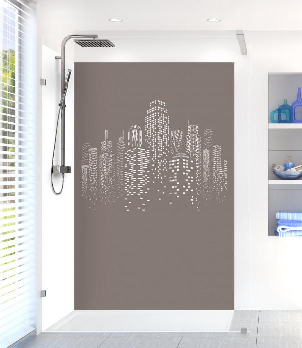 Panneau de douche Gratte-ciels couleur taupe motif inversé