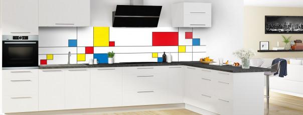 Crédence de cuisine Rectangles Mondrian panoramique motif inversé en perspective