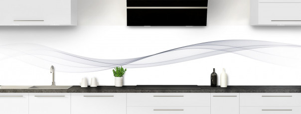 Crédence de cuisine Vague graphique couleur gris clair panoramique motif inversé
