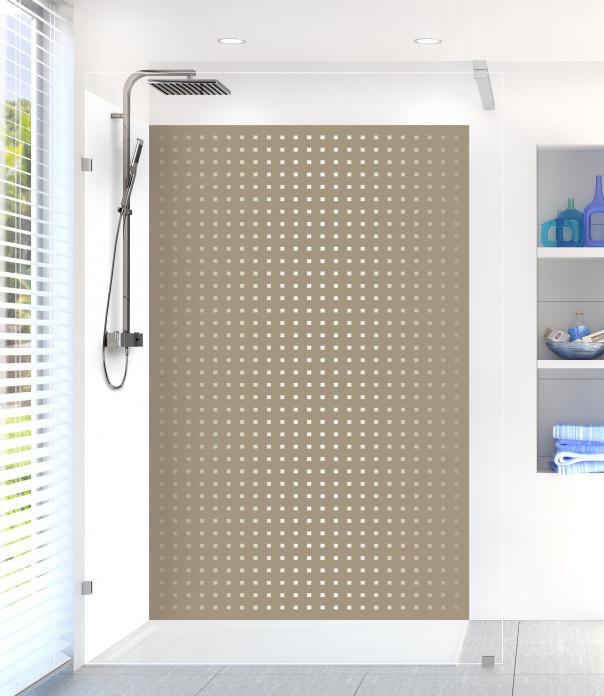 Panneau de douche Petits carrés couleur marron glacé