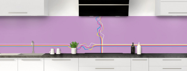 Crédence de cuisine Light painting couleur parme panoramique motif inversé