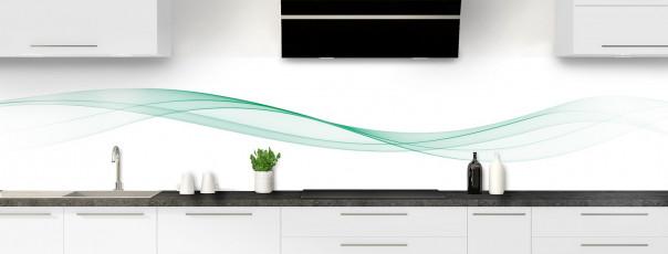 Crédence de cuisine Vague graphique couleur vert pastel panoramique