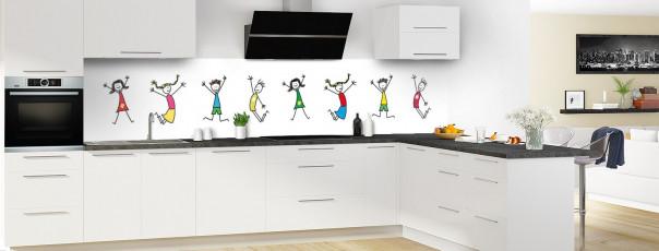 Crédence de cuisine illustration Enfants  panoramique en perspective