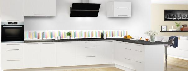Crédence de cuisine Barres colorées couleur blanc dosseret en perspective