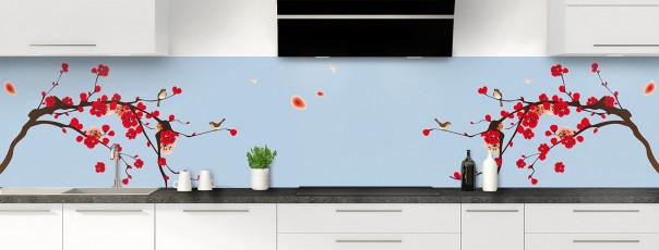 Crédence de cuisine Cerisier japonnais couleur bleu azur panoramique